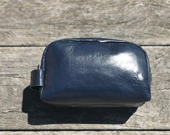 Individually Handmade Men's glossed navy kid leather toiletry travel/shaving bag.