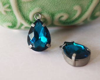 2 Glass Rhinestone Faceted Tear Drops Single Loop Colour Prussian Blue With Antique Silver Tone  Size 18x13mm
