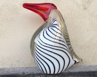 Vintage Art Glass Bird Penguin Modern Murano Glass Paperweight