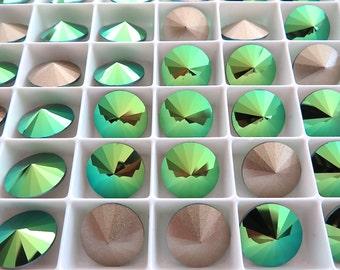 12 Scarabaeus Green Foiled Swarovski  Rivoli Stone 1122 12mm