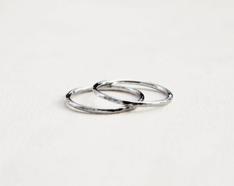 Set of 2 Sterling Silver Stacking Rings w/ Hammered Texture. Delicate Stacking Rings. Midi Rings. Above the Knuckle Rings. Bridesmaid Gifts.