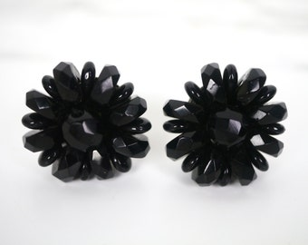 Black Beaded Flower Screw Back Earrings