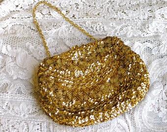 Vintage or perles sac de soirée, mère de la mariée sac à main ou sac de vacances