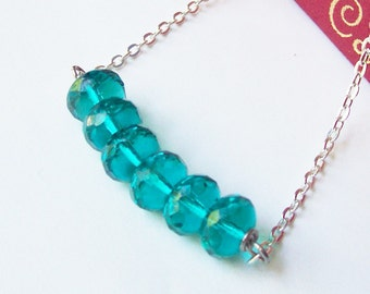 SALE Turquoise Bar Necklace Teal Green - Jewelry Jewellery For Women Modern Silver - Ocean Beach Summer Teens On Trend - Gift Chain Delicate