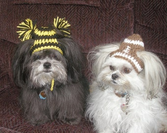 Dog hat - FOOTBALL or  CHEERLEADER - choose team colors - Humorous - 2 to 20 lb pets- made to order