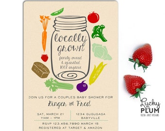 Locally Grown Baby Shower Invitation / Farmer's Market Baby Shower Invitation / Vegetable Baby Shower Invitation / Coed Organic Mason Jar