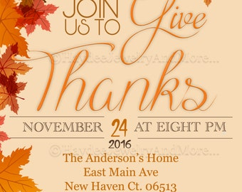 Thanksgiving Invitation Card -Join us to Give Thanks invitation-Digital file only- 50% off Sale