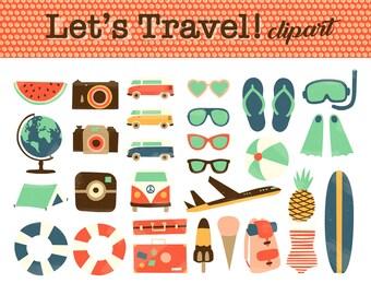 Travel digital clipart. Summer clip art. Holidays Clipart. Vintage, Glove, hippy van, vacation, sunglasses, Vector Graphics. Commercial use.