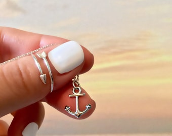 Anchor Necklace - Sterling Silver Anchor Necklace - Nautical Charm Necklace - Dainty Charm Necklace