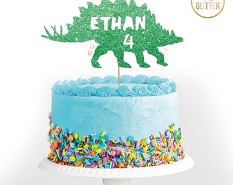 Ethan 4 Dinosaur, birthday, Green cake topper, glitter cake topper, custom, personalised, 1,2,3,4,5,6, dinosaur,any name, any colour,any age