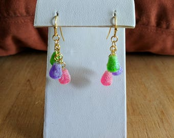 Colorful Christmas candy gumdrops dangle earrings