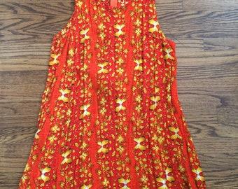 Vintage women's 1980's vibrant boho bali batik dress. Size S/M