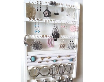 ON SALE Jewelry Holder Wall Mount, Ring Compartment, Wood Earring Organizer, Necklace Display, White Rack, Oak Hardwood, Gorgeous Bridal Gif