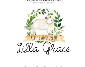 Sheep Logo, Flower Logo, Lamb Logo, Farm Logo Rustic Logo, Premade Logo, Custom Logo Design, Round Logos, Logo Children's Boutique, Lamb