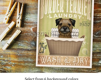 Border Terrier dog laundry basket laundry room art vintage style artwork by Stephen Fowler Giclee Signed Print