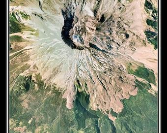Mount Saint Helens National Monument Washington Satellite Poster Map
