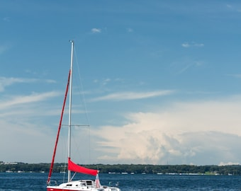 Red and White Sailboat With Sails Down on Lake Geneva WI Wisconsin Nautical Fine Art Photography by Rose Clearfield on Etsy