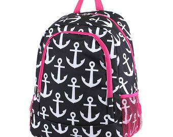 Anchor Monogram Backpack, Personalized Backpack, Monogram Bookbag, Boys Backpack, Pink Backpack, Kids Backpack, School Backpack