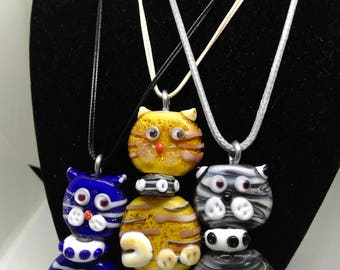 Lampwork Cat Pendants