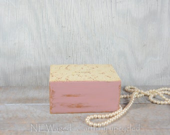 Coin bank, piggy bank, hand painted and distressed rosy pink, vintage lace, music box, shabby chic