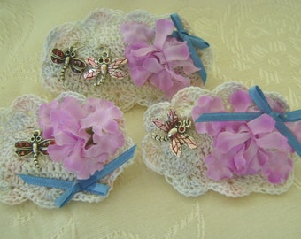 Set of 3 Barrettes, 3 1/2 and 2 2-3/4 Inch Crocheted Base, Silk Flowers, Dragonfly Charms