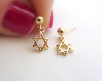 Star of David jewelry, Star of David earrings, Star of David gift, Magen David, Tiny post earrings, Bat mitzvah gift, Gold charm earrings