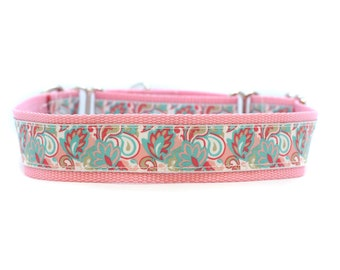 Wide 1 1/2 inch Adjustable Buckle or Martingale Dog Collar in Dreaming