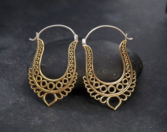Gypsy Brass Earrings - Indian Earrings - Big Hoop Earrings - Boho Earrings