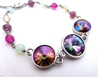 Austrian crystal pastel bracelet, bezel set rhinestones, wire wrapped beads, beautiful colors lilac mint purple fuchsia, all crystal jewelry
