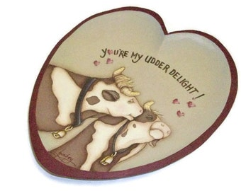 Kissing Cows Heart Plate | Udder Delight Hand Painted Cow Design