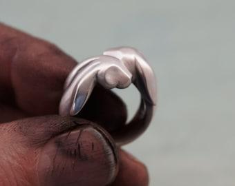 bunny love  ring, silver