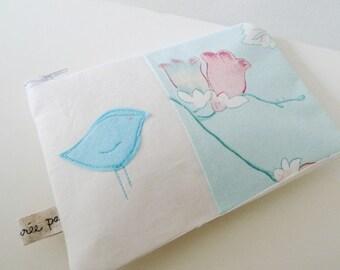 Linen Pouch with Felt Applique Bird Free Hand Machine Stitching