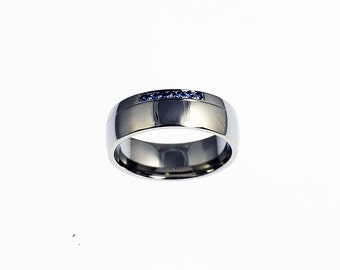 Blue sapphire ring, 950 Platinum, men's wedding band, sapphire wedding, men platinum wedding, men sapphire band, blue wedding ring, custom