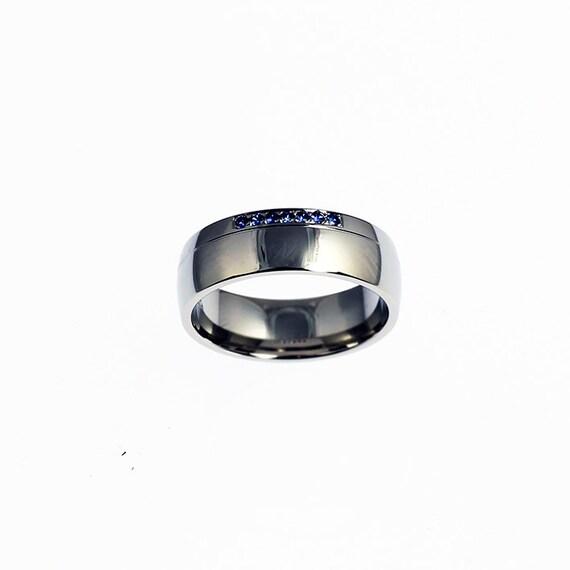Blue sapphire ring 950 Platinum mens wedding band