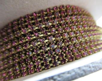 2mm Amethyst Purple Rhinestone Chain - Brass Setting - Preciosa Czech Crystals *NEW ITEM*