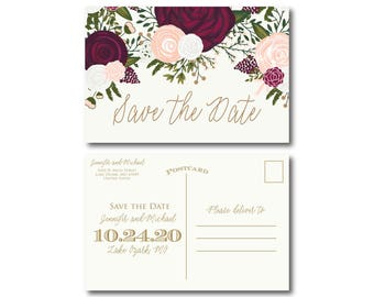 Floral Save the Date Card Save the Date Postcard Vintage Save the Date Burgundy Save the Date Printed Save the Date Save Date #CL235