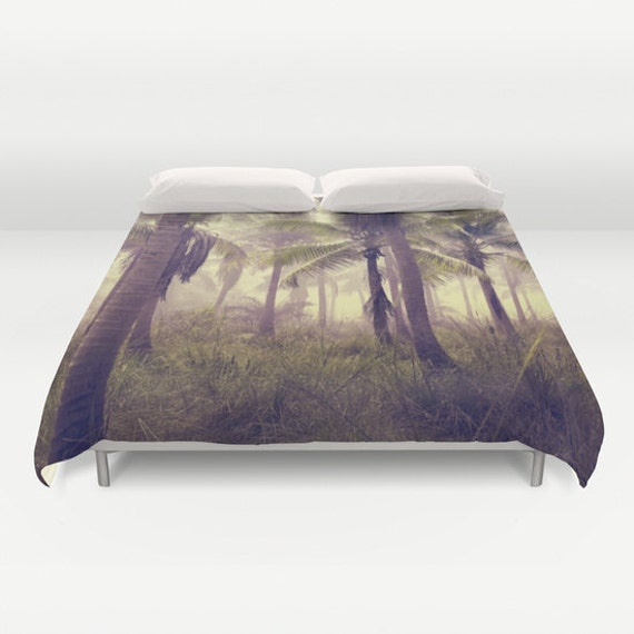 Forest Duvet Cover, In The Woods, Palm Tree Bedding, Trees, Tropical, Decorative, Fantasy Bedding, Unique Design, Dorm, Palms, Bedroom