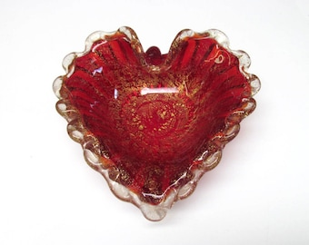Vintage 1950s Ruby Red Gold Barovier Toso Murano Glass Dish / Italian Glass Leaf Ashtray Bowl Basket