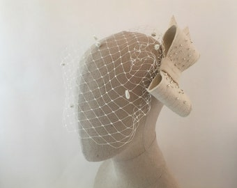 Ivory Bow Birdcage Veil, Wedding Bow Headpiece, Bow Veil, Bridal Bow Veil, 1950's Birdcage Veil, 1950's Wedding Headpiece, Bridal Bow
