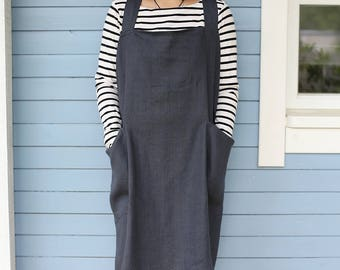 Linen Pinafore Apron | Square-Cross Apron | Japanese Apron | No-ties Apron | Working Apron |Washed Soft Linen Apron