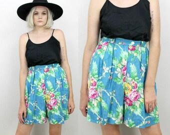 90s Tropical Linen Shorts, Vintage High Waisted Pleated Shorts, 28, Size Medium, Blue Floral, Summer Vacation, Preppy, Minimalist, Hawaiian