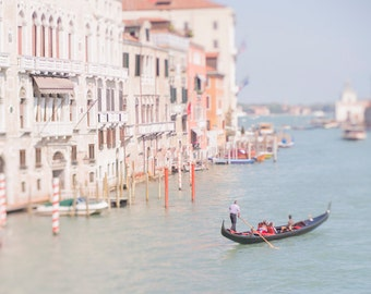Venice Photography - The Gondolier, Grand Canal, Blue Sea, Italy Wall Decor, Travel Wall Art, Large Wall Art