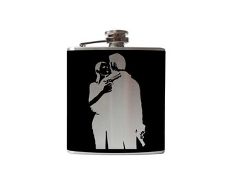 Gangster Flask- alcohol, liquor, booze, wedding, bridal party, hip pocket- Personalized Custom - YOU pick COLOR, SIZE