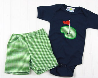 Baby Boy Clothes - Baby Golf Shirt - Baby Shower Gift - Summer Baby Outfit - Green Gingham Shorts - Boys Golfing Outfit - New Baby Boy Gift