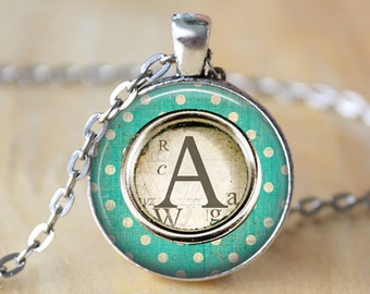 Custom Letter Necklace • Initial Jewelry • Typewriter Key Necklace • Typewriter Jewelry • Personalized Gift •Gift For Her•Turquoise Necklace