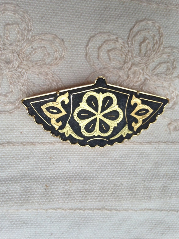 Damascene Brooch Pin spanish damascene jewelry fan brooch