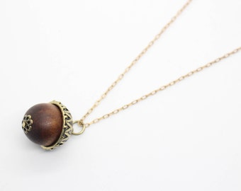 Acorn necklace, Acorn pendant, Fall necklace, Autumn necklace, Fall jewelry, Autumn jewelry, Acorn jewelry, Wooden necklace, Antique brass