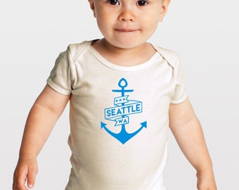 Sky Blue Seattle Anchor-- Organic Cotton Baby One Piece