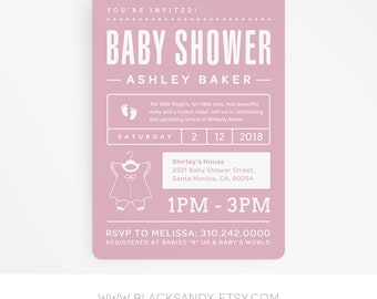 Printable Minimal Pink Baby Shower Invitation Girl Baby Shower invitation Digital Download Pink Shower Blush Pink Baby Shower Invite Girl