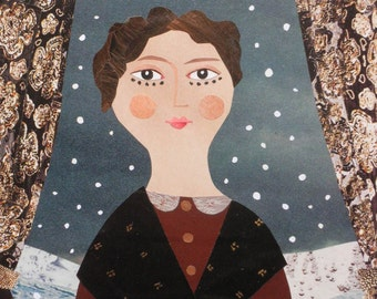 Greeting Card, Portrait of a Lady, Naive, Folk Portrait, English Romantics, Shelley, Byron, Snow, History, Illustration, Art Card